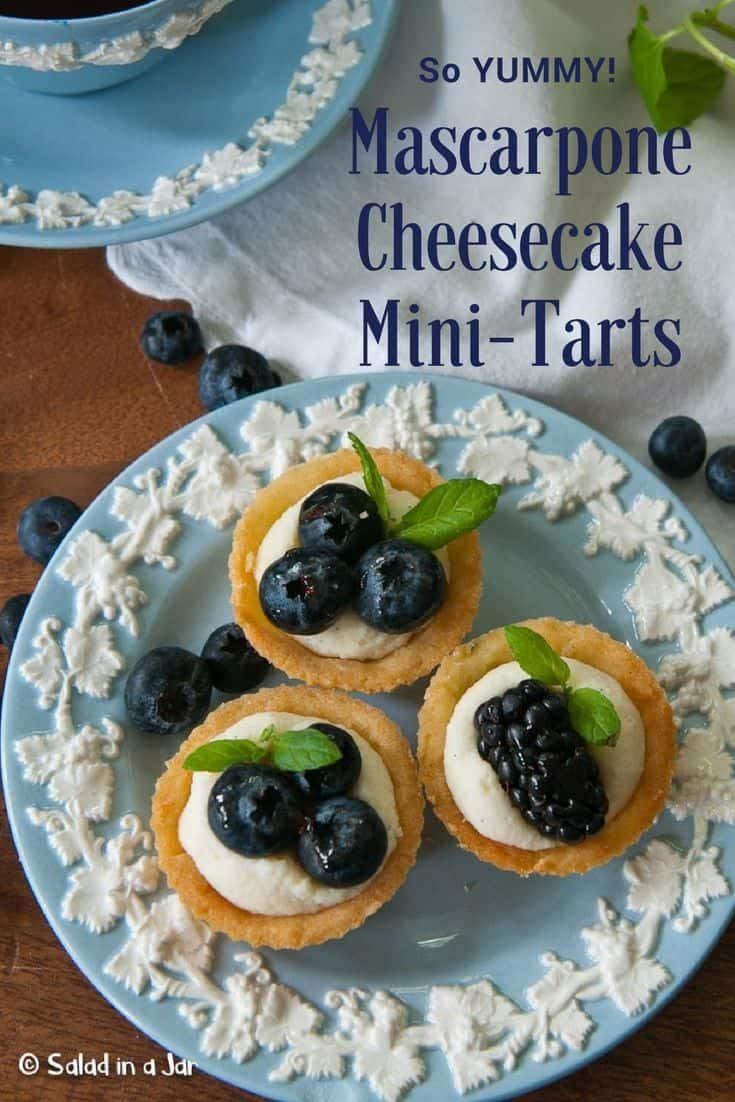 No bake mascarpone cheesecake filling in miniature tart shells--perfect for a celebration