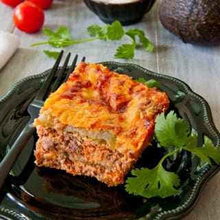 A serving of Baked Chili Relleno Pie