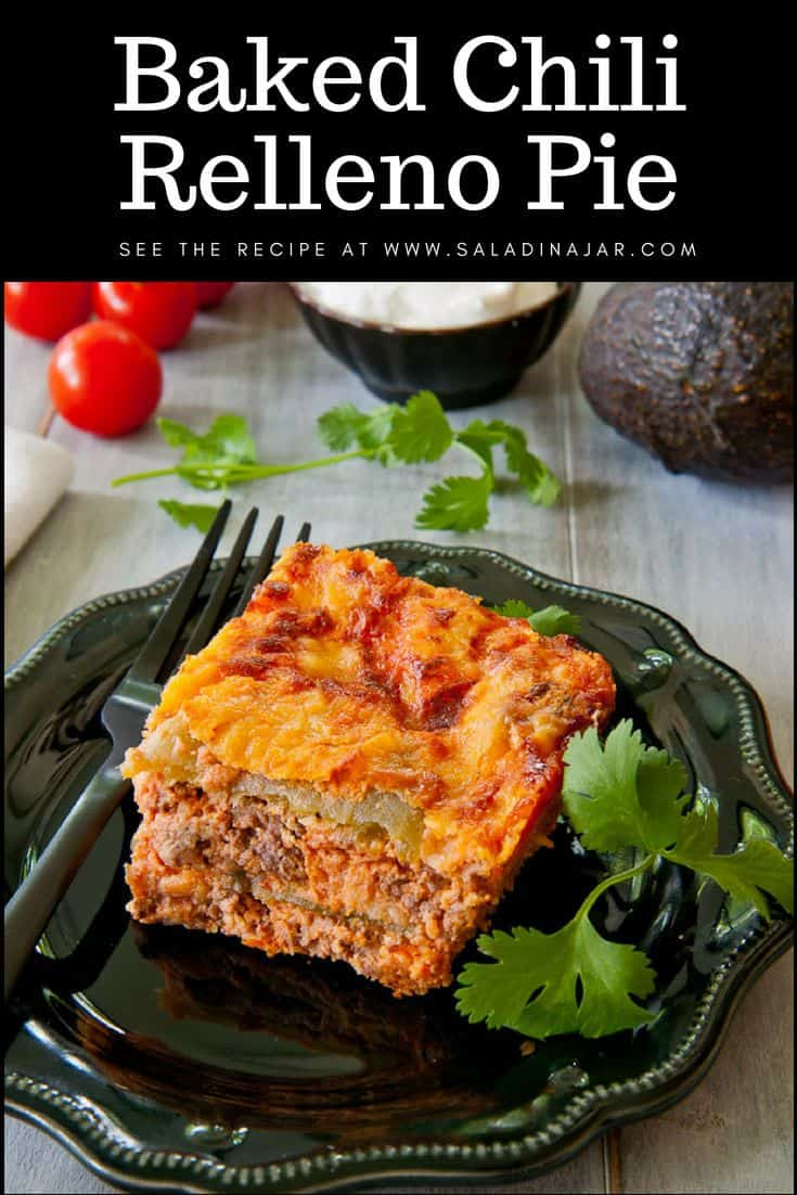 Pinterest image for Baked Chili Relleno Casserole