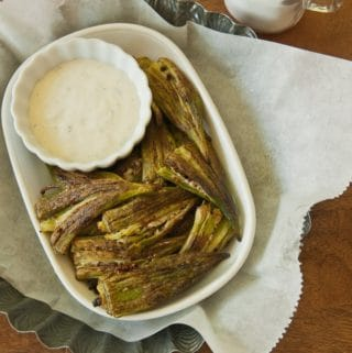 Roasted Smashed Okra served with ranch dressing