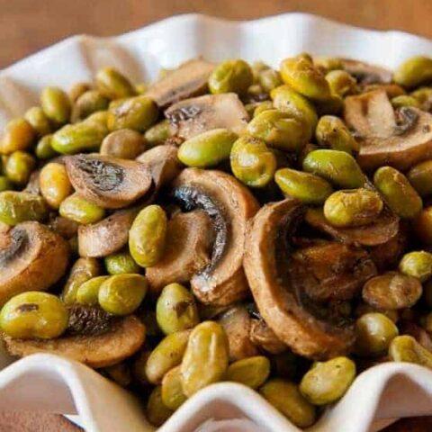 Roasted Edamame and Mushrooms