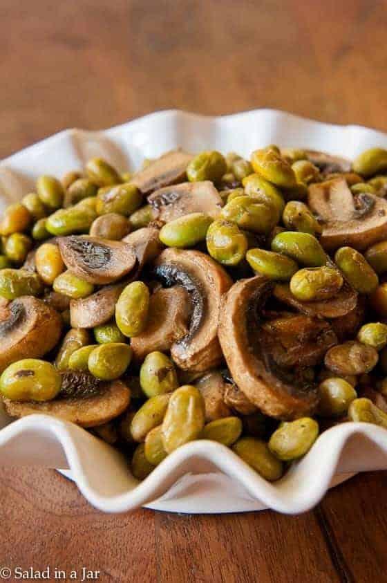 Simple Baked Edamame and Mushrooms