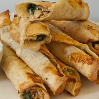 Crispy Chicken and Spinach Flautas