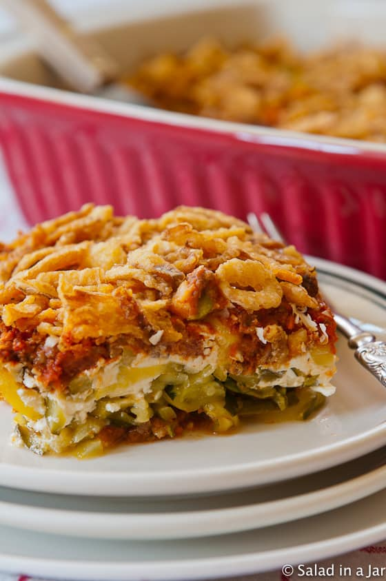 Baked spaghetti casserole with zucchini noodles in place of pasta.