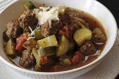 Mini meatballs combined with eggplant, zucchini, tomatoes and Italian spices in a delicious soup.