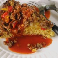 Upside-Down Sausage and Pepper Cornbread