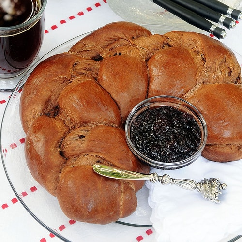 A chocolaty brioche-style yeast bread packed with semi-sweet chocolate chunks. A bread machine recipe.