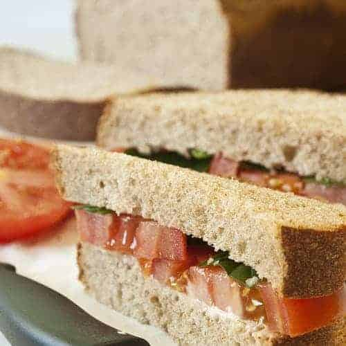 Honey Whole Wheat Bread made into sandwiches