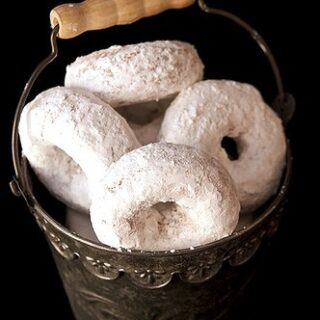 White Whole Wheat Powdered Sugar Donuts (Baked not Fried)