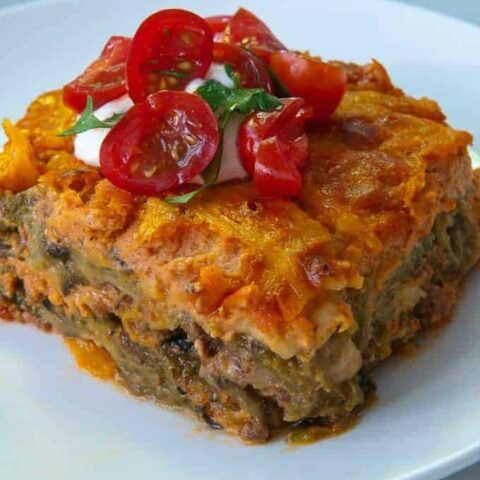 Baked Chili Relleno Casserole with Ground Beef