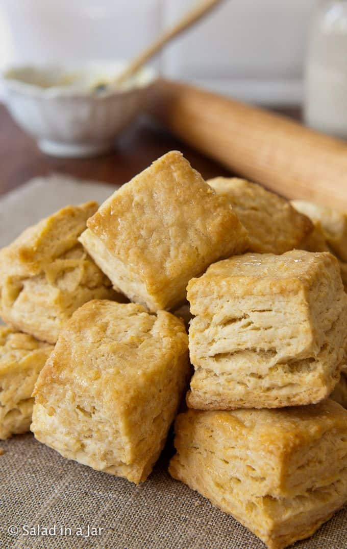 Honey-Butter Glazed Flaky Biscuits Made with Whey (or Buttermilk)