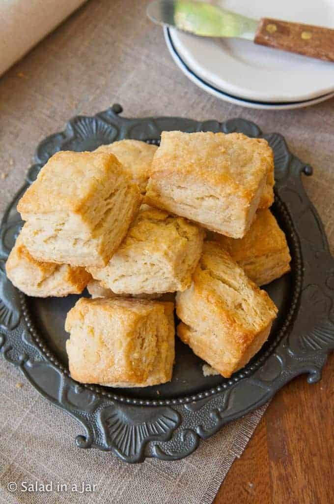 Honey-Butter Glazed Flaky Biscuits Made with Whey (or Buttermilk)--piled on a plate