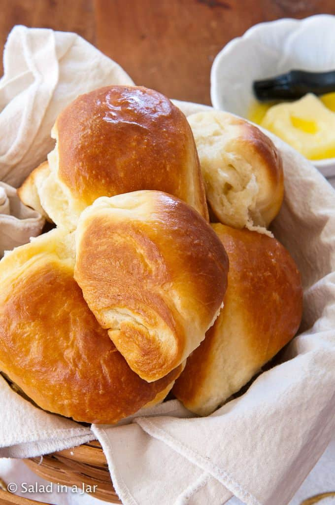 My Favorite Dinner Rolls--Updated: rolls in a basket