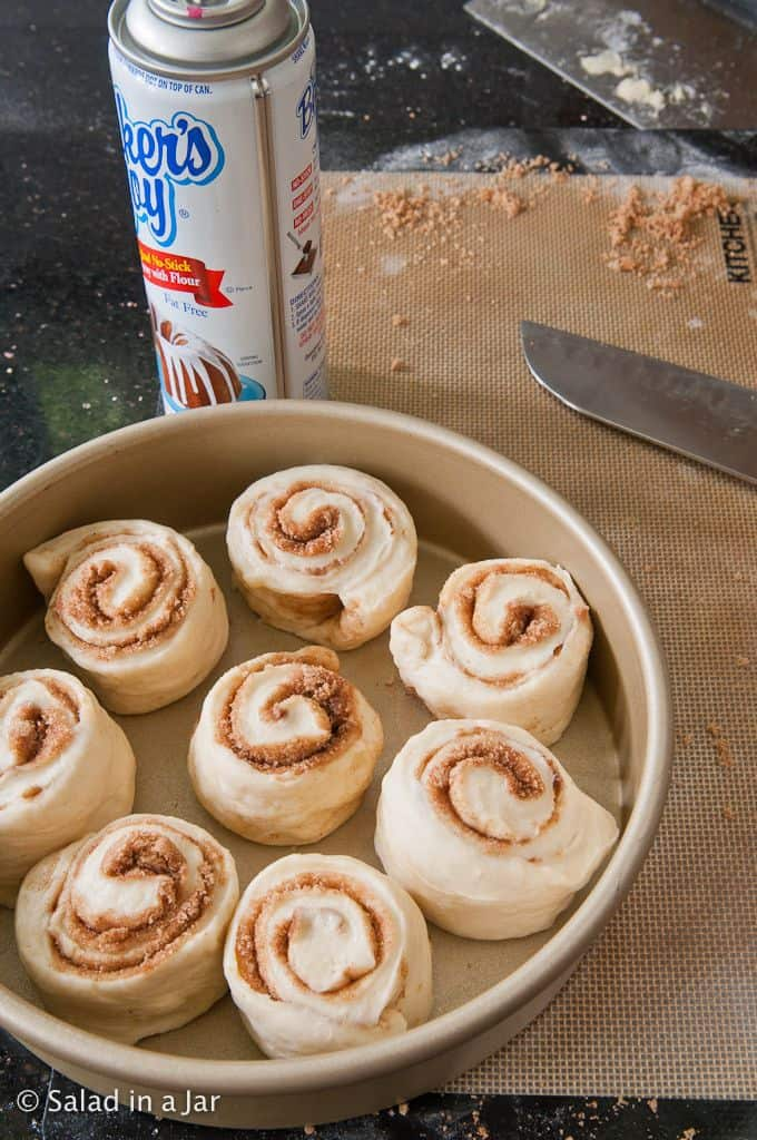 cut cinnamon rolls ready for second rise.