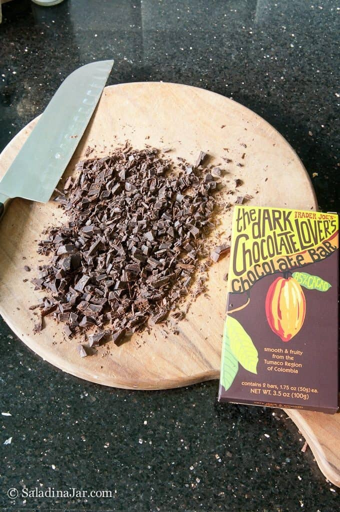 Finely chopped chocolate added to temper chocolate.