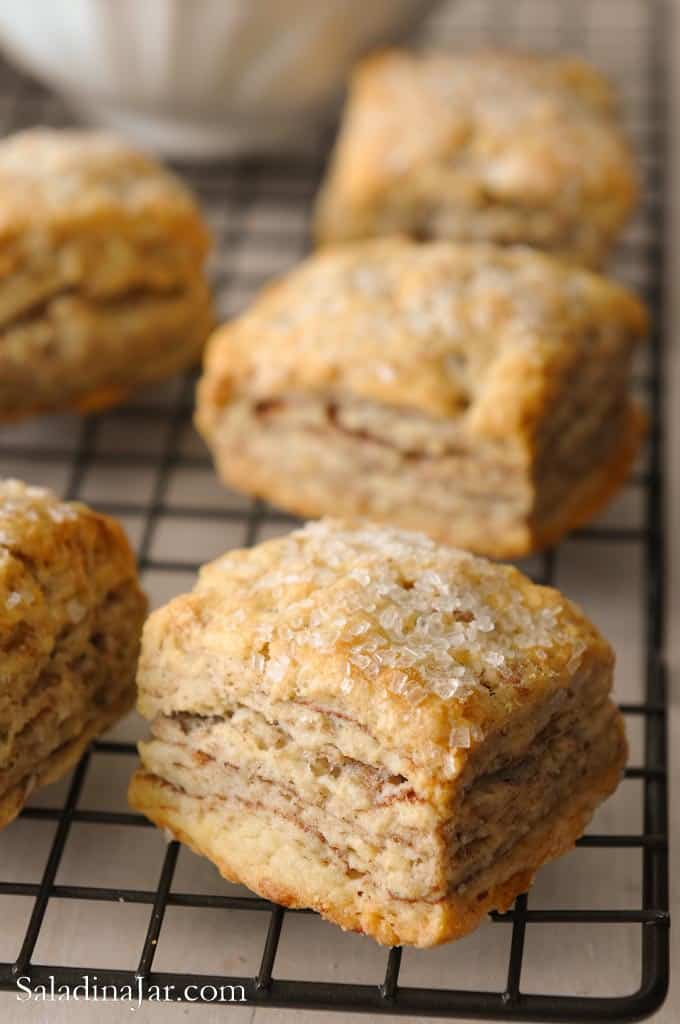 Flaky Cinnamon Biscuits on cooling rack