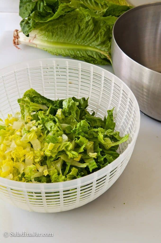 chopped lettuce in spinner bowl