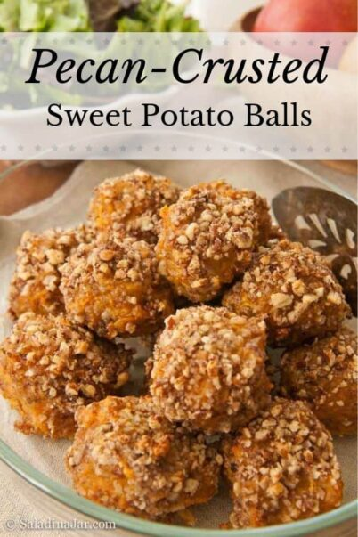 Pecan-Crusted Sweet Potato Balls-in a serving dish