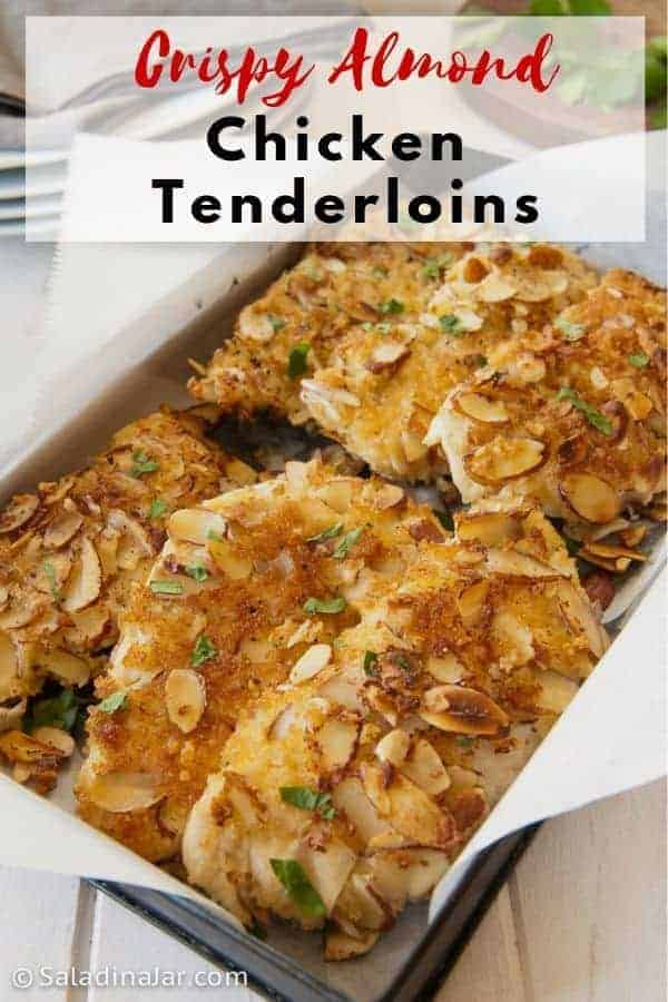 Crispy baked almond chicken tenderloins. Simple to make. Delicious sliced and served over salad.
