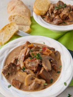 Leftover Steak Soup--in a bowl