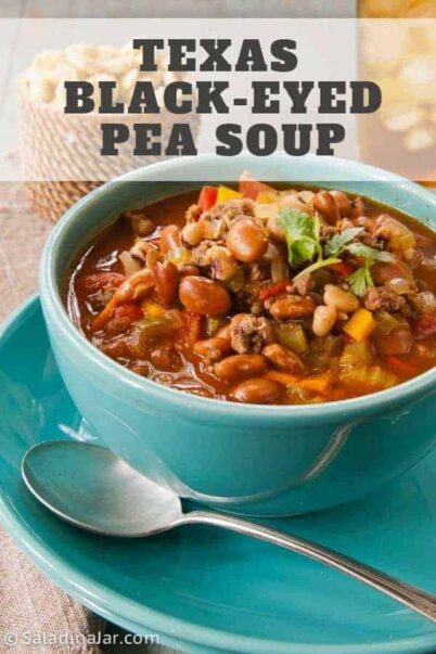 Texas Black-Eyed Pea Soup--Soup in a bowl with spoon and crackers on the side
