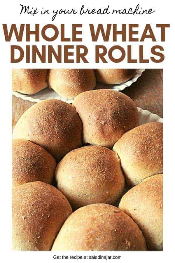 A super simple recipe for whole wheat dinner rolls you can mix up in your bread machine.