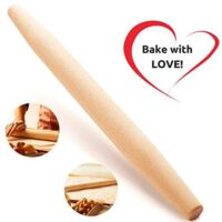 "French Wooden Rolling Pin 18"" x 1.55"" for Baking Pizza Pastry Dough, Pie Crust & Cookie - Kitchen Cuisine Utensil Smooth Tools Gift Ideas for Professional Bakers, Restaurants, Grandmas - MR. WOODWARE"