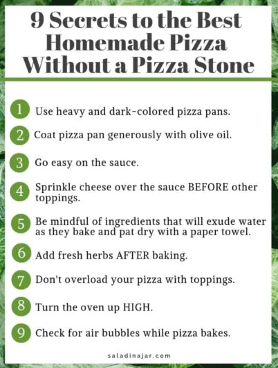 summary of 9 secrets for good pizza