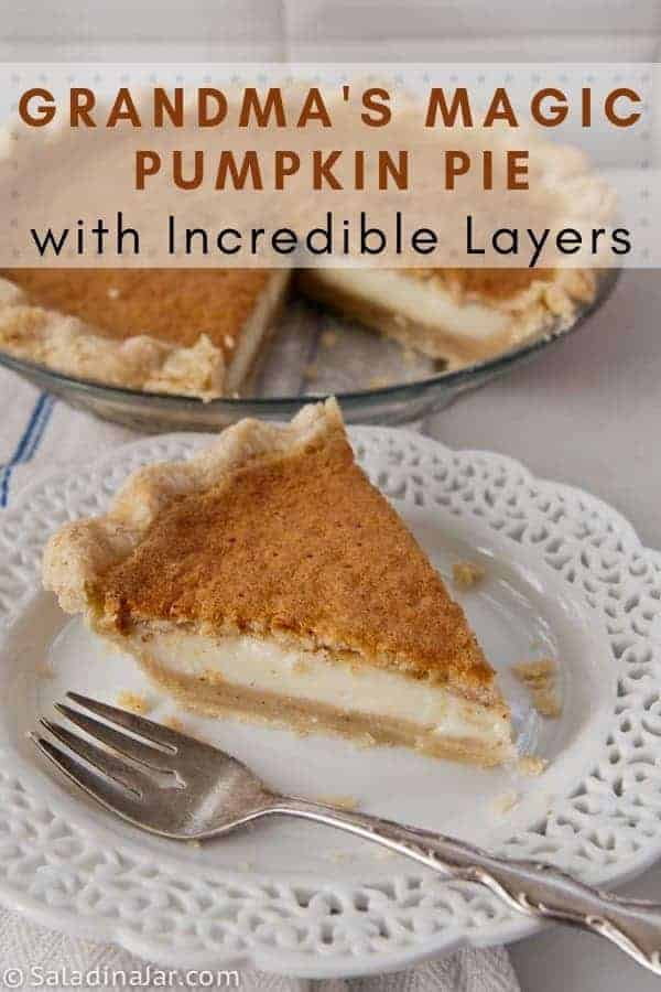A mildly spiced layered pie with delicate custard-like layers. Flavored with pumpkin pureé.