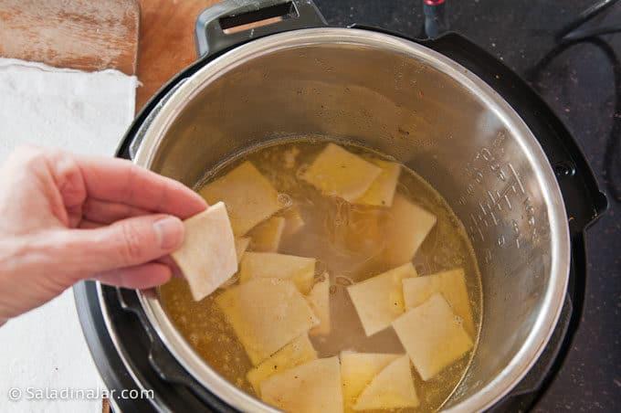 add flat dumplings to broth