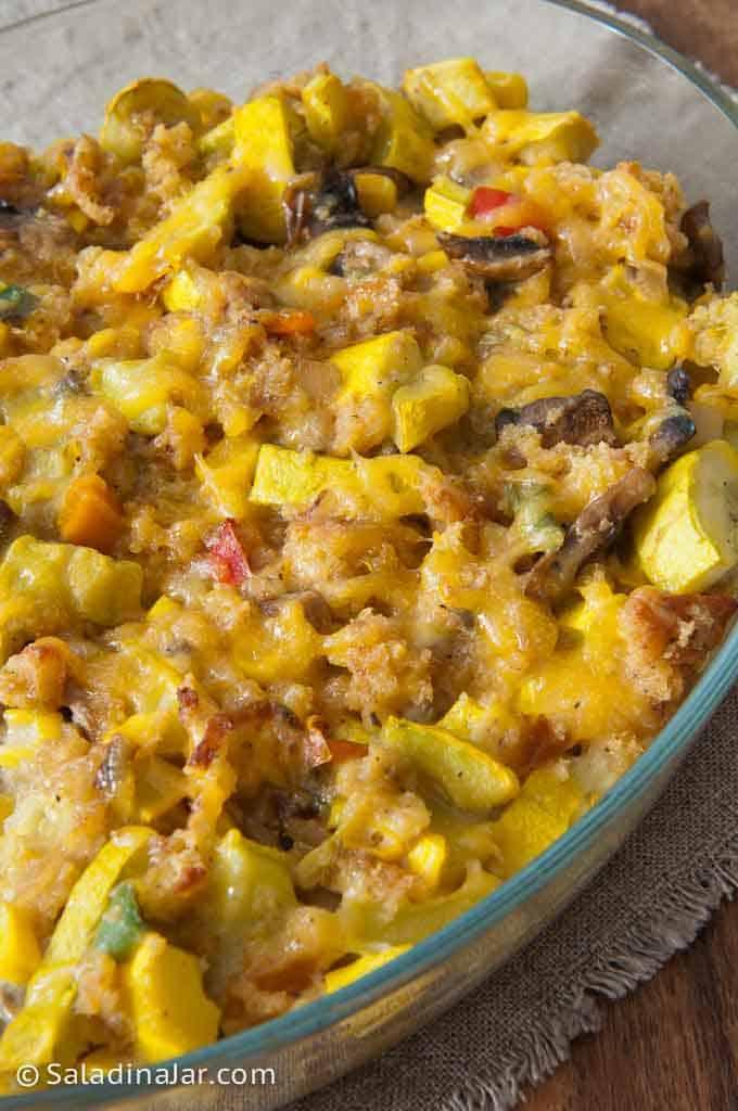 Close-up of spicy squash and leftover cornbread casserole