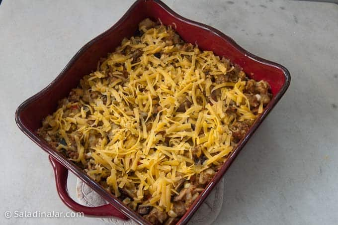 sprinkle baked casserole with cheese