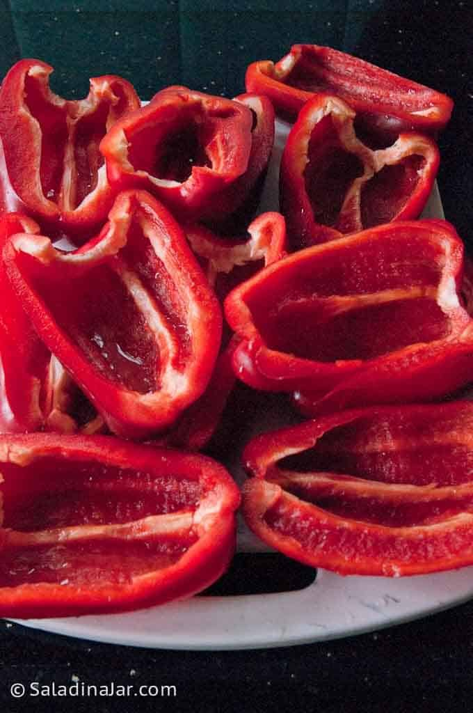 red peppers split and cleaned out