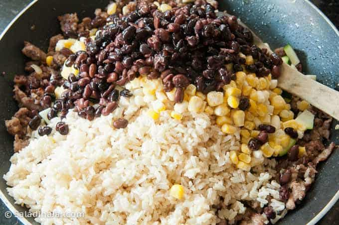 rice, corn and beans added