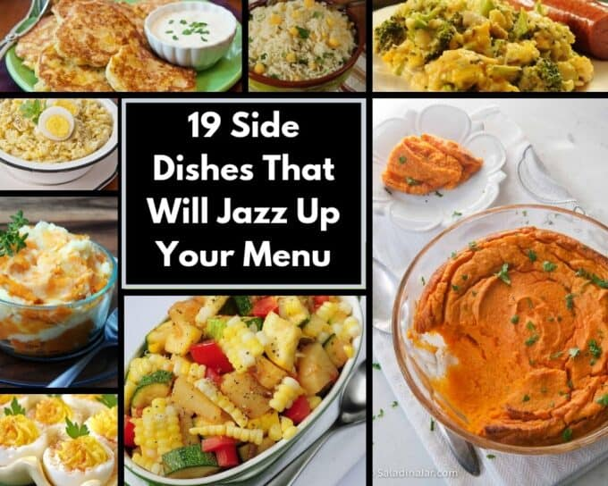 Eight images that are part of a collection of 19 side dishes from this website