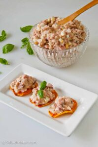 ham salad piled atop oven-baked sweet potato chips