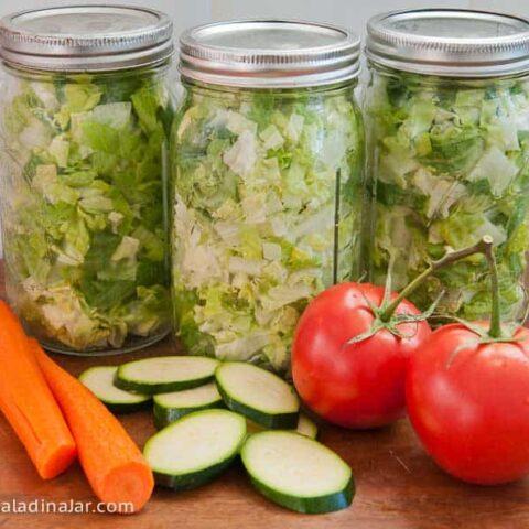 veggies sitting next to vaccum-sealed lettuce