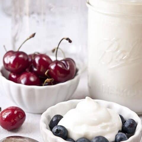 yogurt with cherries and blueberries