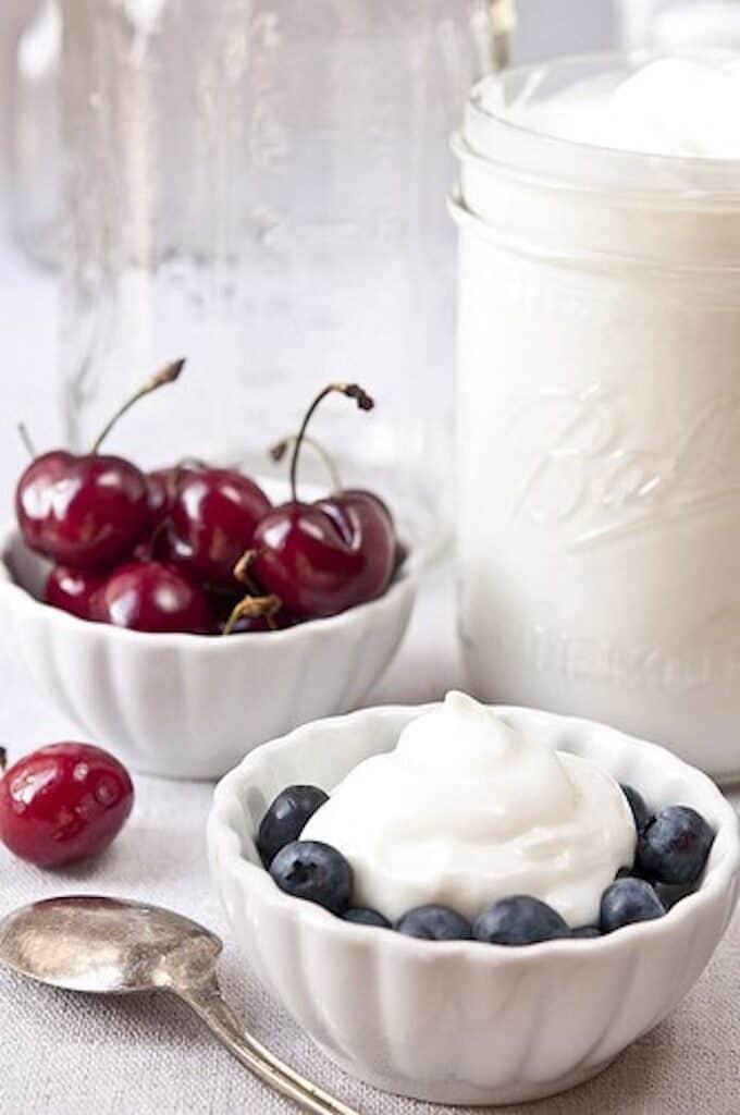 Homemade  Greek yogurt with cherries and blueberries