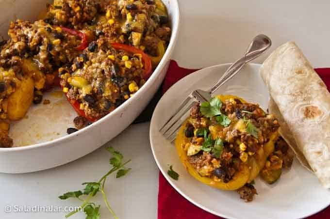 stuffed peppers with flour tortilla