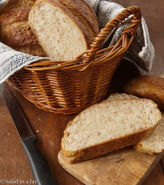 Wheat berry bread in a basket