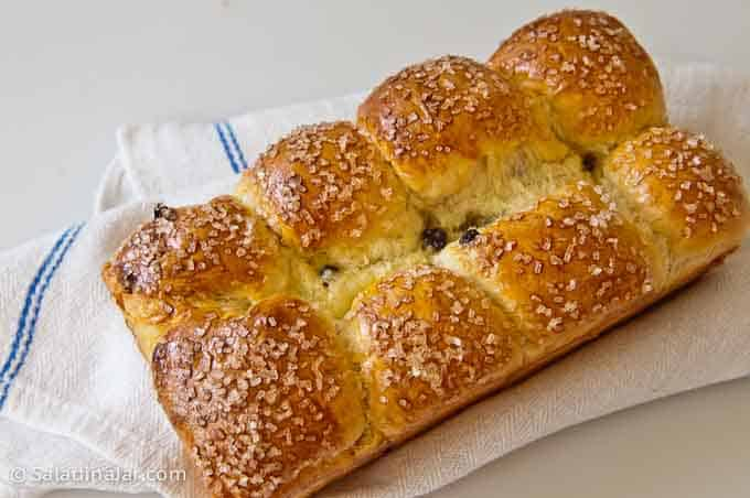 raisin rolls made in a loaf pan