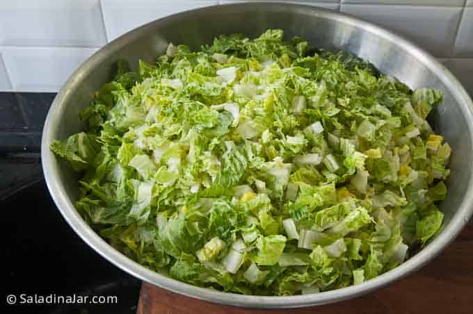 a large bowl of chopped romaine lettuce