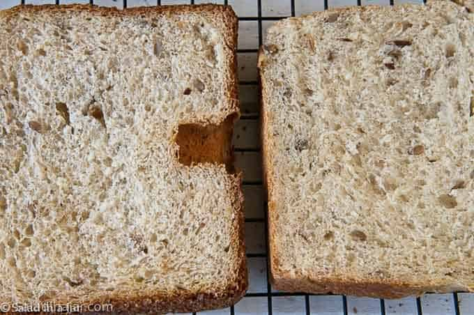 comparing the internal texture of slices of bread baked in conventional oven and a bread machine