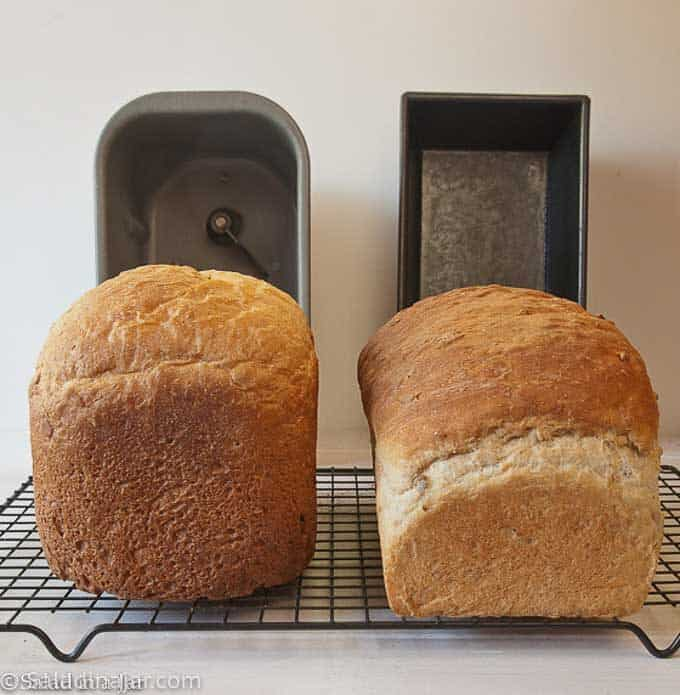 comparing loaves baked in a bread machine and a conventional oven