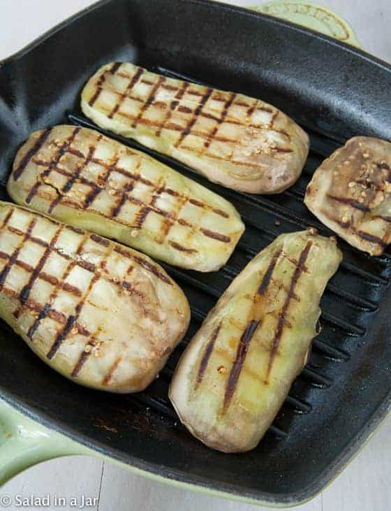grilling eggplant in a grill pan to keep it from getting mushy