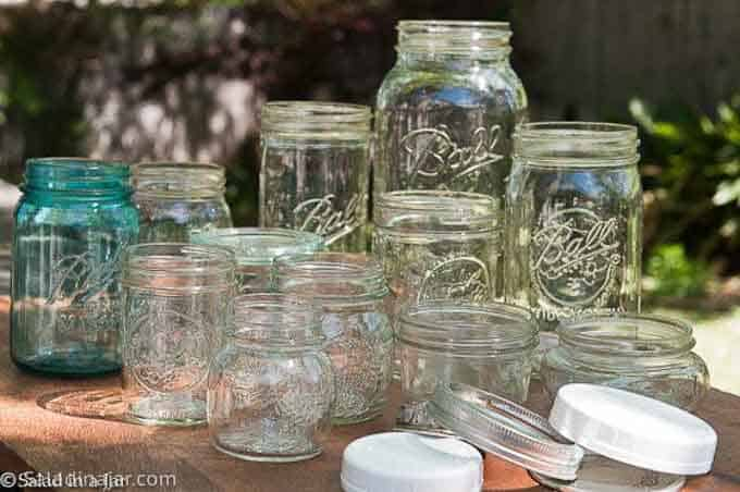 -- a collection of Mason jars.