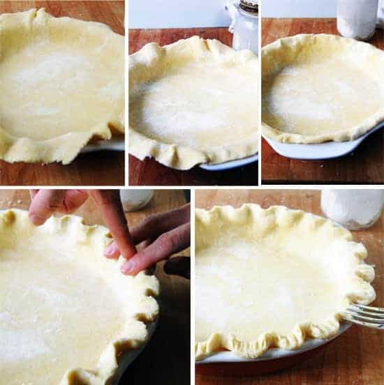picture tutorial showing how to get pie dough into a pie shell and look good
