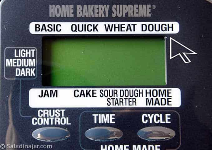 bread machine with dough cycle highlighted