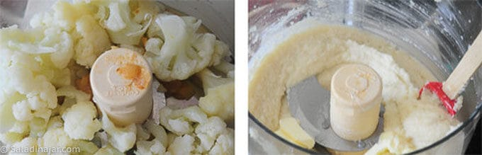 Puree cauliflower and onions in a food processor until smooth.